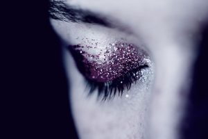 Close up of eye with glitter eyeshadow