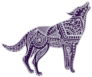 Wolf icon with mandala decorative elements