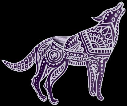 Wolf icon with mandala decorative elements