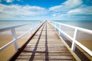 Wooden dock to the ocean