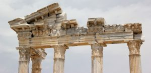 Old dilapidated roman columns